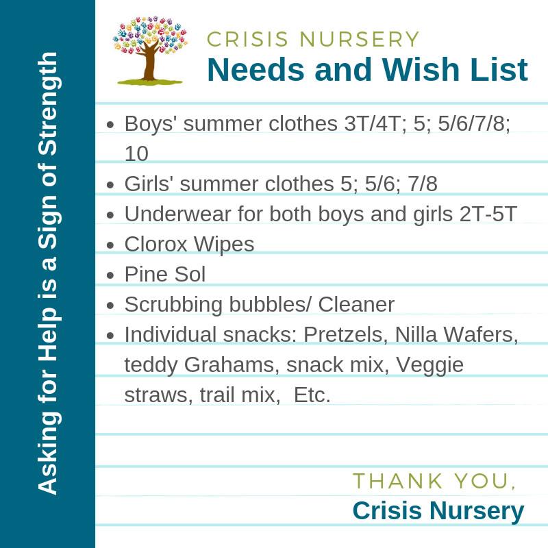 crisis nursery needs and wish list July 2